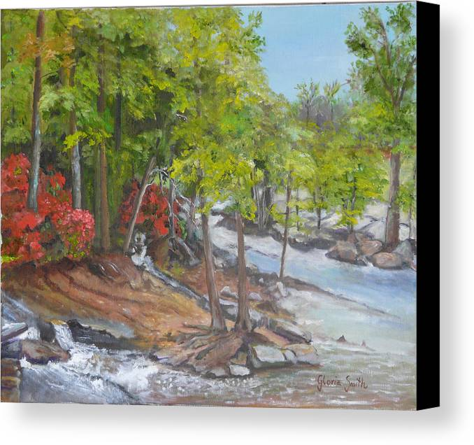 Landscape Canvas Print featuring the painting The Old Mill by Gloria Smith