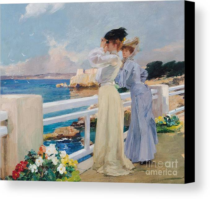 The Seagulls Canvas Print featuring the painting The Seagulls by Albert Pierre Rene Maignan