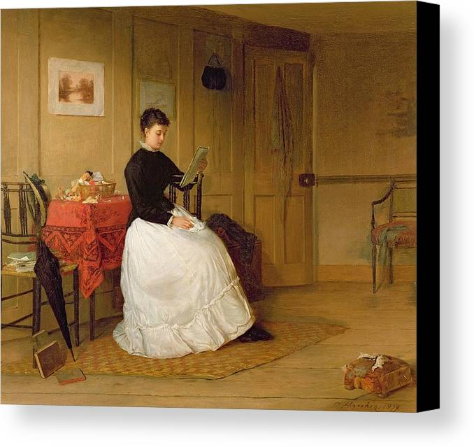 The Canvas Print featuring the painting The Treasured Volume by Harry Brooker