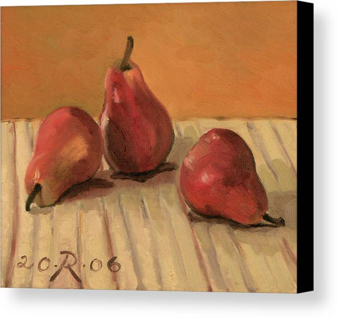 Still-life Pears Red Gold Canvas Print featuring the painting Three Red Pears by Raimonda Jatkeviciute-Kasparaviciene