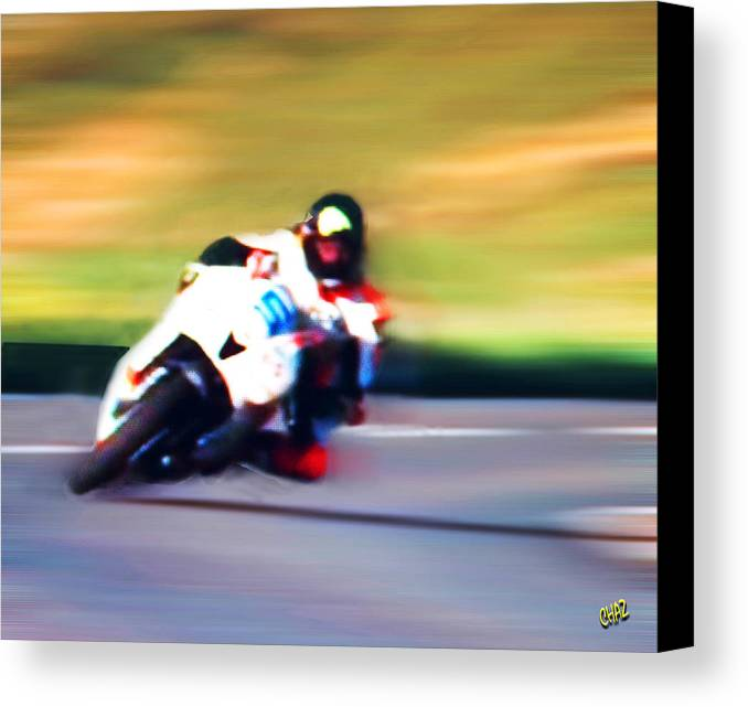 Bike Racing Canvas Print featuring the painting Tight Curve by CHAZ Daugherty