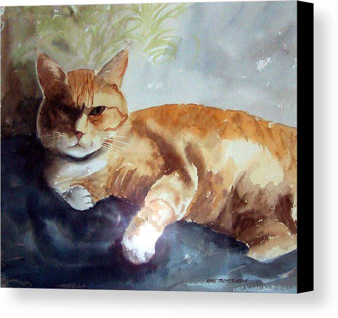 Cat Canvas Print featuring the print Toby The Best Cat Ever by Anne Trotter Hodge
