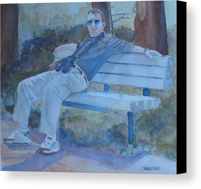 Tourists Canvas Print featuring the painting Tourist At Rest by Jenny Armitage
