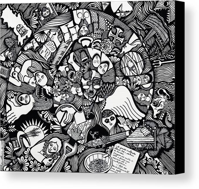Drawing Canvas Print featuring the drawing What I Used To Be Was A Desire Which As Gone by Jose Alberto Gomes Pereira