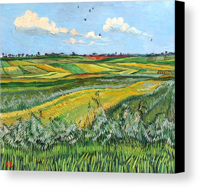 Wheat Canvas Print featuring the painting Wheat Fields And Clouds by Vitali Komarov