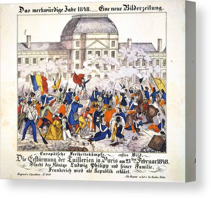 1848 Canvas Print featuring the painting France Revolution, 1848 by Granger