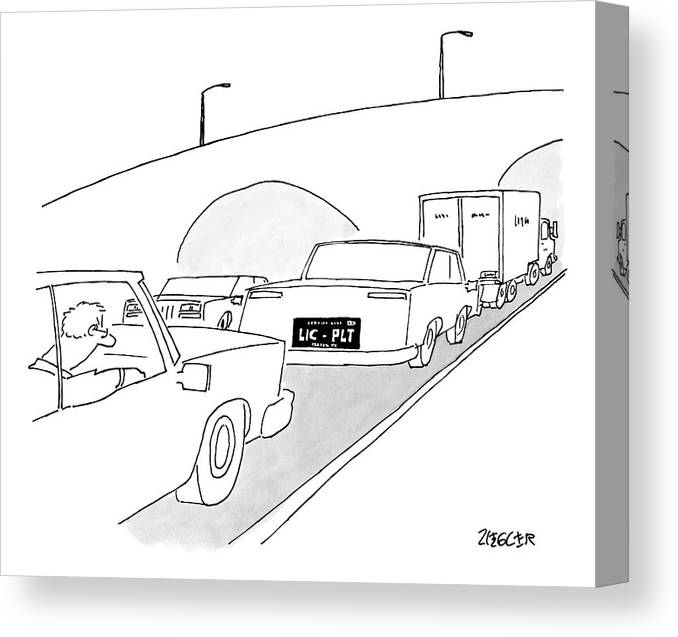 Captionless Canvas Print featuring the drawing A License Plate That Reads  Lic-plt by Jack Ziegler