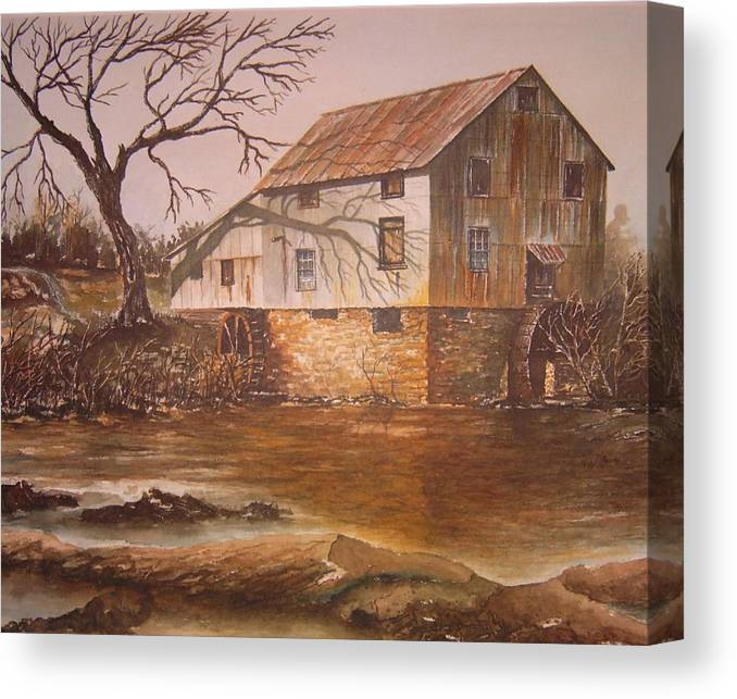 Landscape Canvas Print featuring the painting Anderson Mill by Ben Kiger