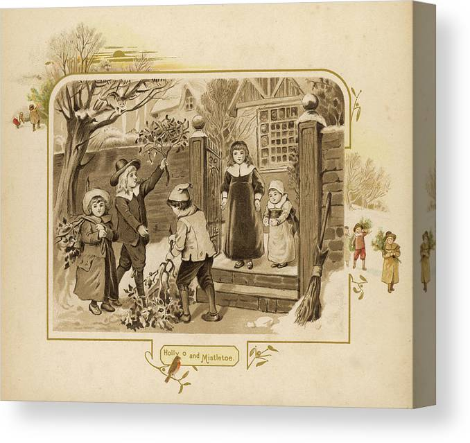 Home Canvas Print featuring the drawing Children Arrive Home And Proudly by Mary Evans Picture Library