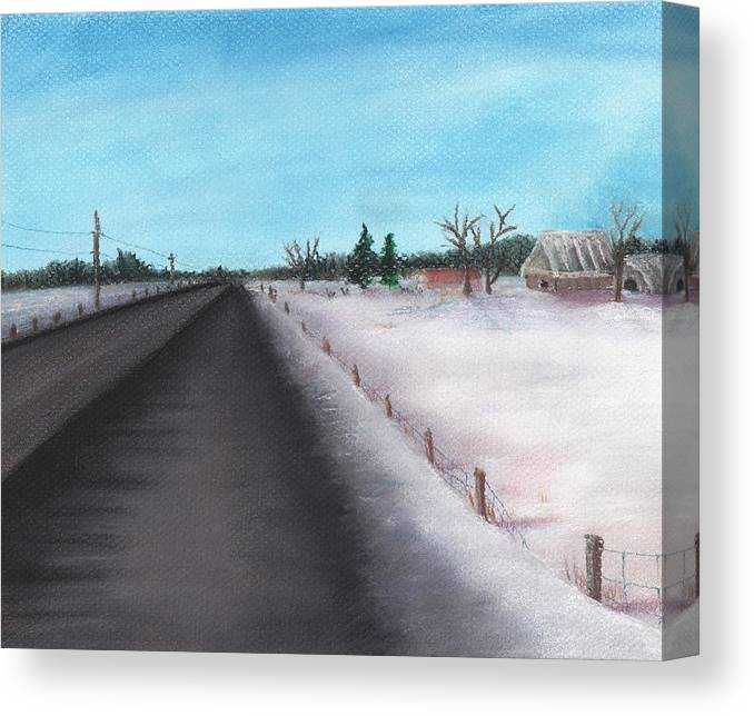 Calm Canvas Print featuring the painting Country Road by Anastasiya Malakhova