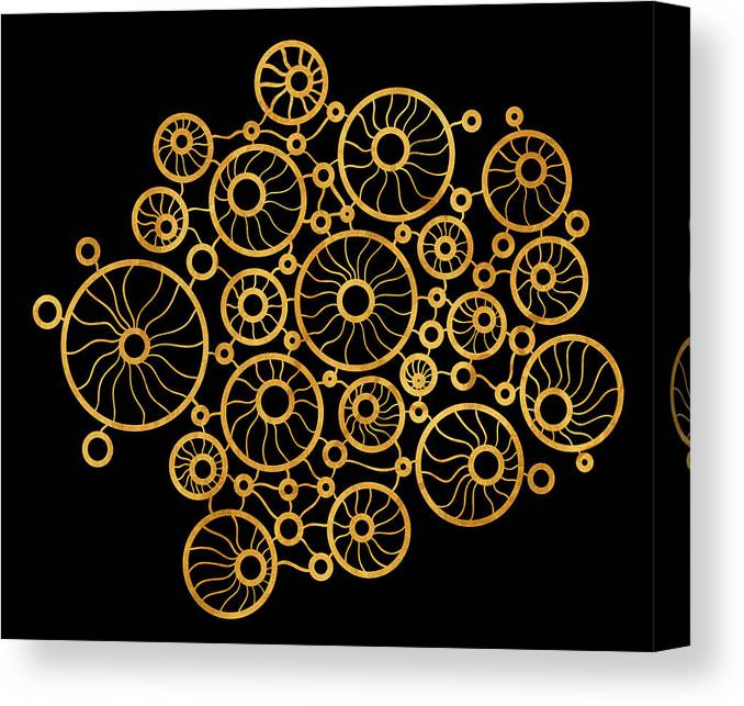 Gold Canvas Print featuring the painting Golden Circles Black by Frank Tschakert