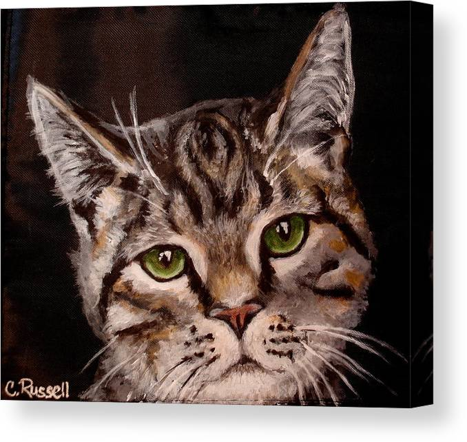 Brown Tiger Cat Canvas Print featuring the painting O'malley by Carol Russell