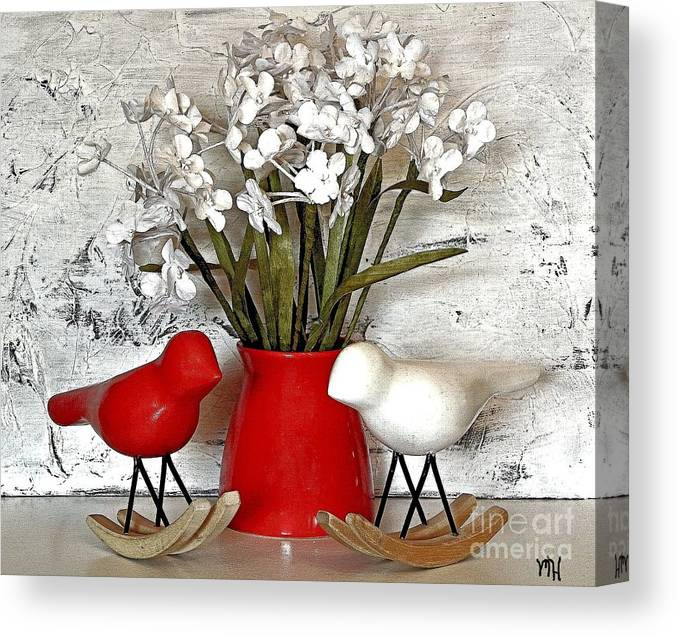 Photo Canvas Print featuring the photograph Paper Bouquet And Rocking Birds by Marsha Heiken