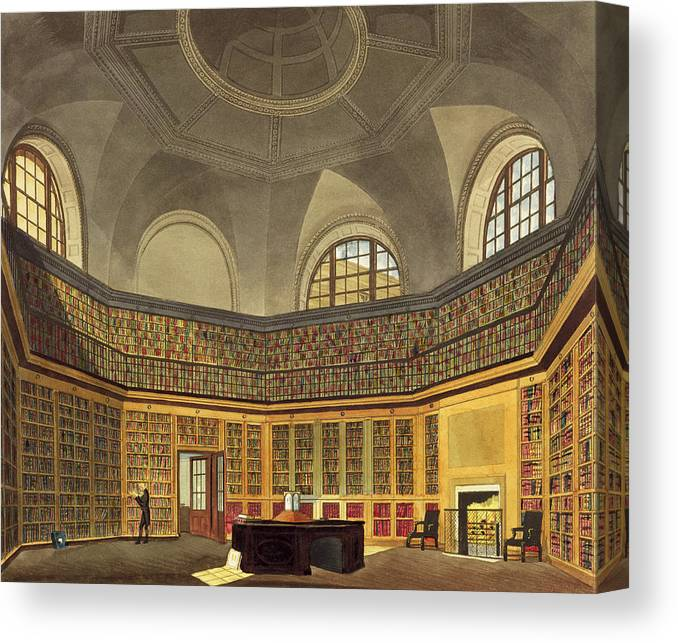Interior Canvas Print featuring the drawing The Kings Library by James Stephanoff