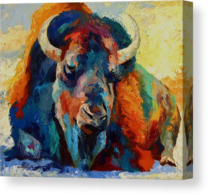 Wildlife Canvas Print featuring the painting Winter Bison by Marion Rose