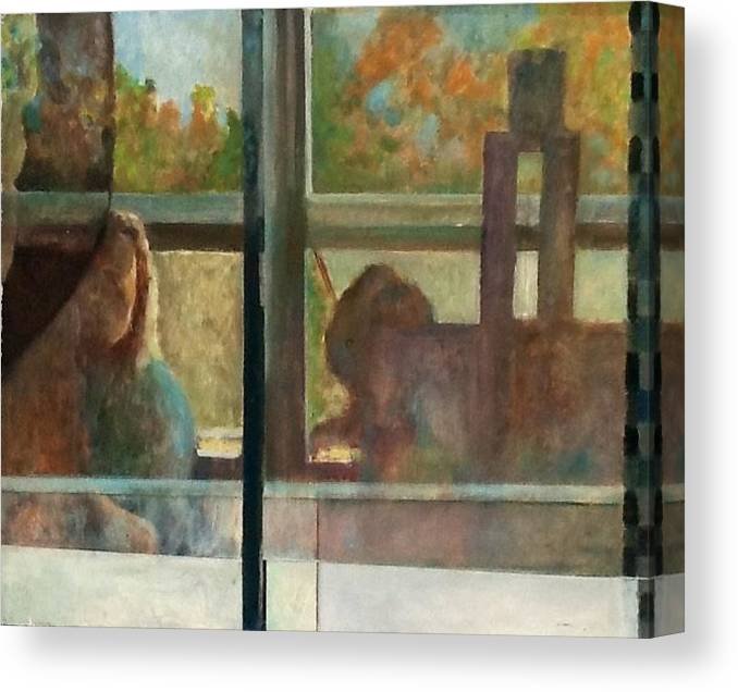 Artist Reflected In Studio Window. Canvas Print featuring the painting Reflections by Tom Smith