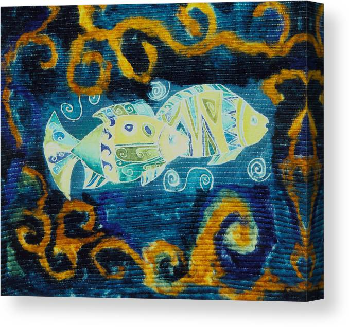 Fish Canvas Print featuring the tapestry - textile Another World by Aliza Souleyeva-Alexander