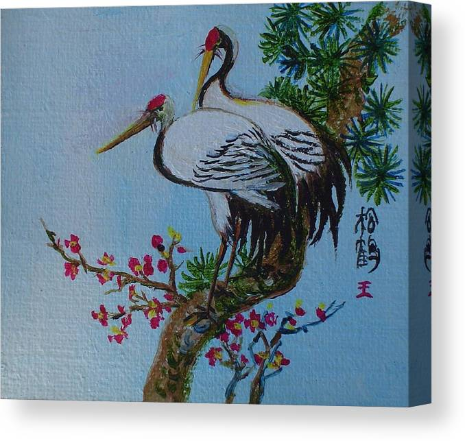 Asian Cranes Canvas Print featuring the painting Asian Cranes 4 by Min Wang