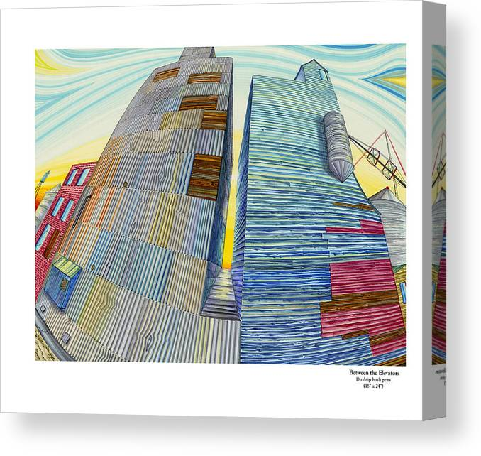 Grain Elevator Canvas Print featuring the painting Between The Elevators by Scott Kirby