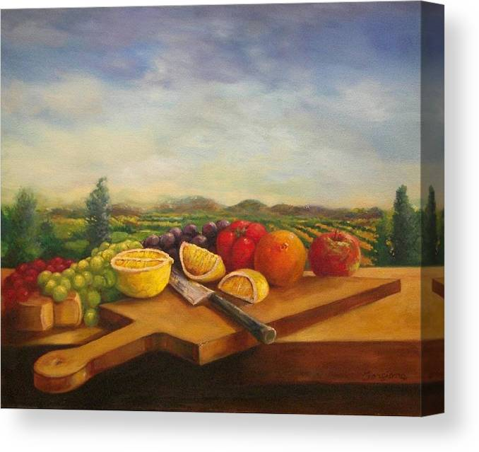 Carving Board Canvas Print featuring the painting Carving Board by Tom Forgione