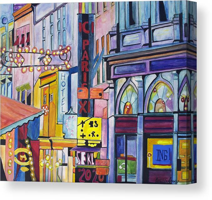 Cityscape Canvas Print featuring the painting Colors Of Paris by Patricia Arroyo