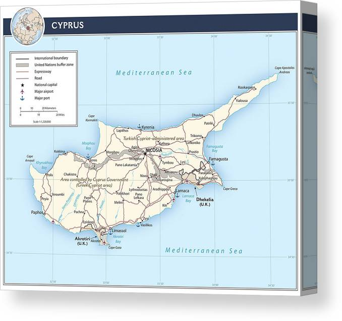 Atlas Canvas Print featuring the mixed media Cyprus 2 by Roy Pedersen