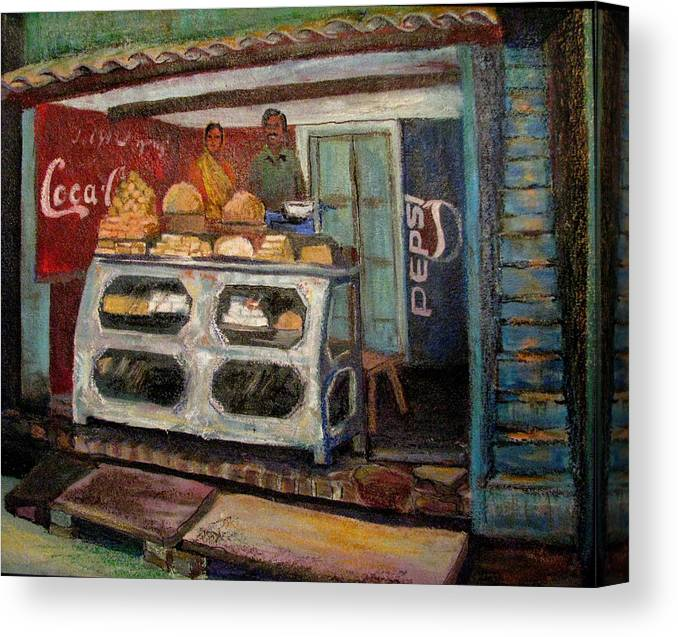Gajak Canvas Print featuring the painting Gajak Sweet Shop Orchha by Art Nomad Sandra Hansen