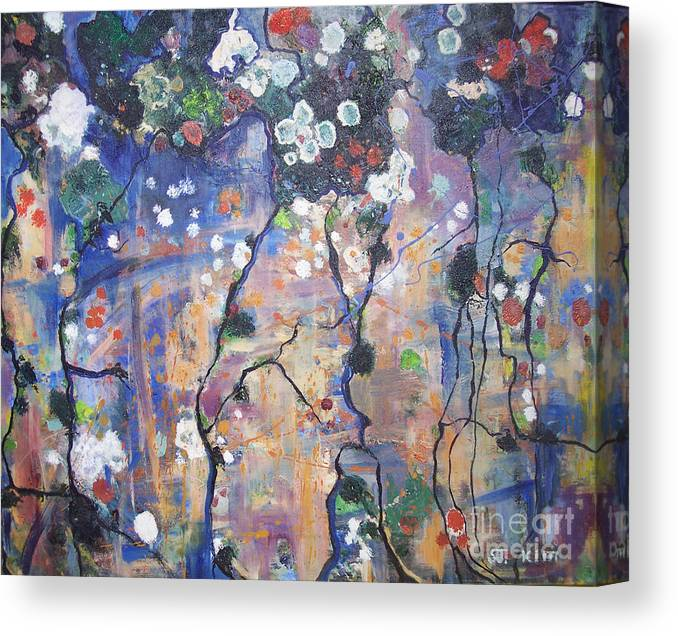 Lichen Paintings Canvas Print featuring the painting Lichen by Seon-Jeong Kim