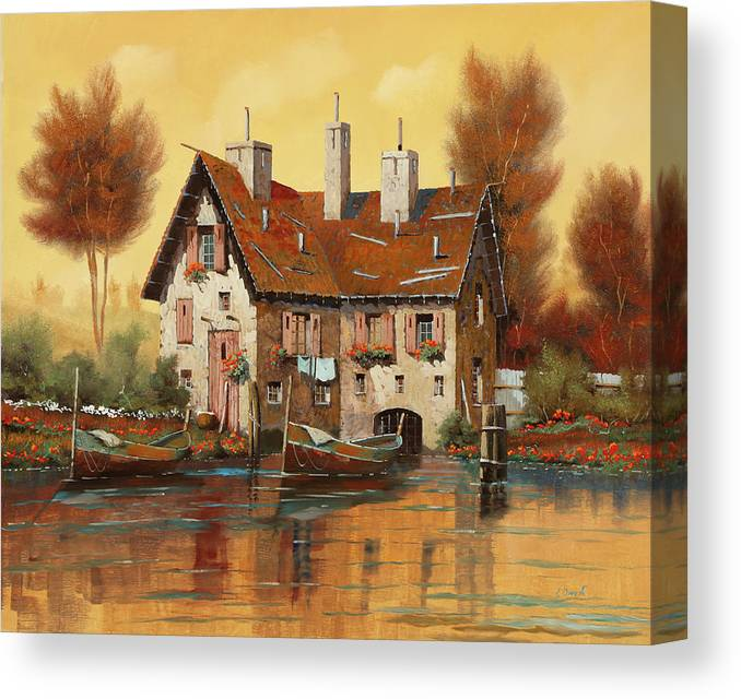Yellow Light Canvas Print featuring the painting Luce Gialla by Guido Borelli