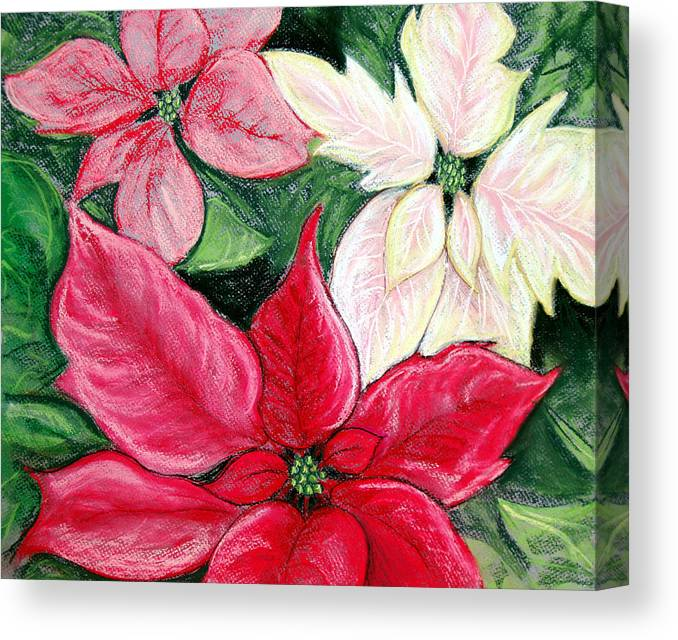 Poinsettia Canvas Print featuring the pastel Poinsettia Pastel by Nancy Mueller