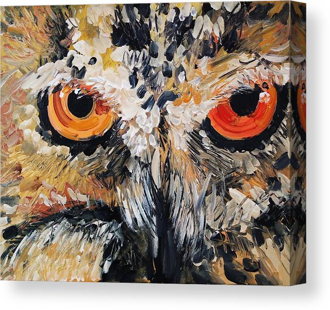 Owl Canvas Print featuring the painting The Owl Of Lakshmi Textured Painting_0476 by Eraclis Aristidou