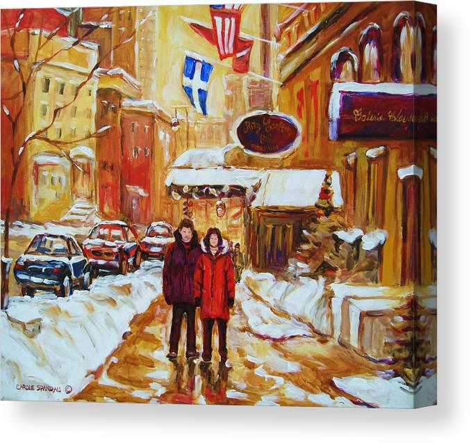 Streetscene Canvas Print featuring the painting The Ritz Carlton by Carole Spandau