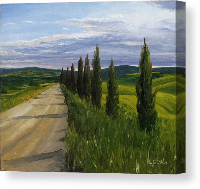 Canvas Print featuring the painting Tuscany Road by Jay Johnson