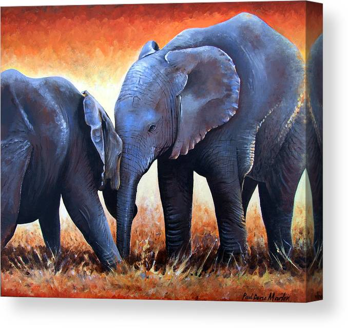 Elephants Canvas Print featuring the painting Two Little Elephants by Paul Dene Marlor