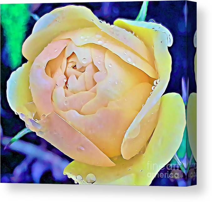 Roses Canvas Print featuring the mixed media Yellow Rose Bud by Tracy Ruckman