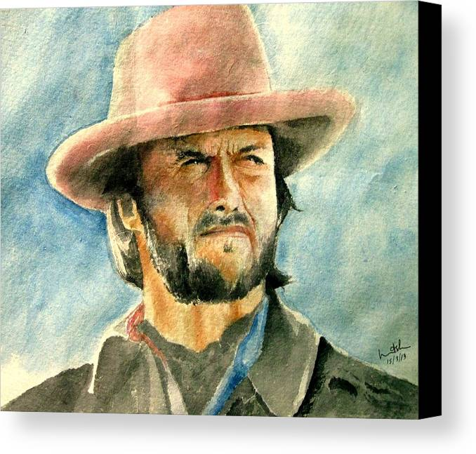 Clint Eastwood Canvas Print featuring the painting Clint Eastwood by Nitesh Kumar