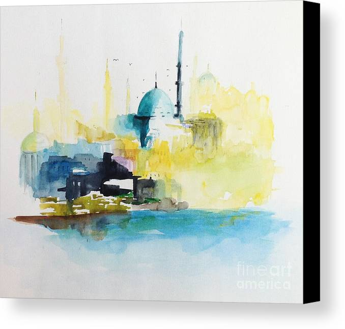 Canvas Print featuring the painting Istanbul by Gianni Raineri