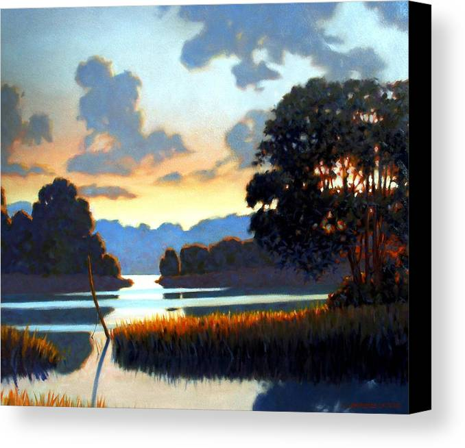 Landscape Canvas Print featuring the painting Grassy Point by Kevin Lawrence Leveque
