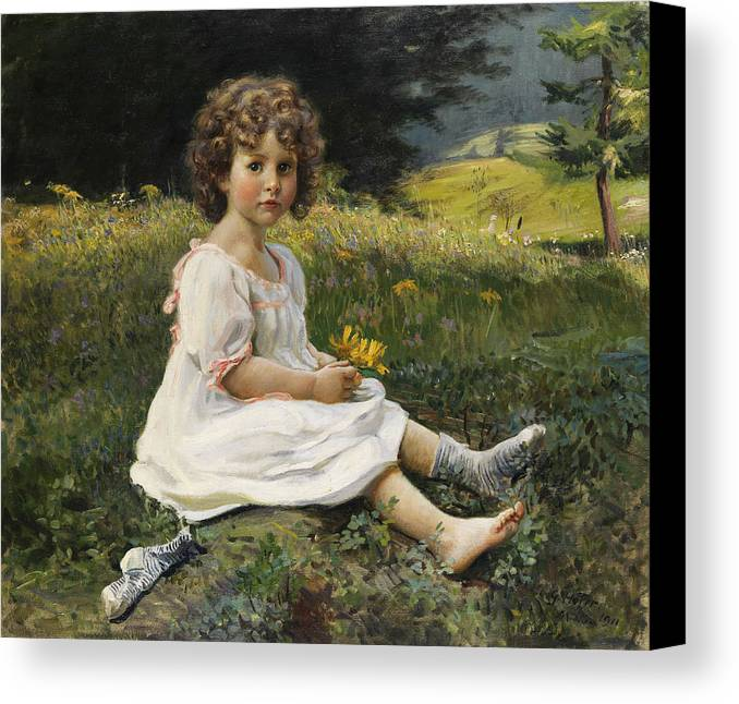 Child Canvas Print featuring the painting Child In The Meadow by Mountain Dreams