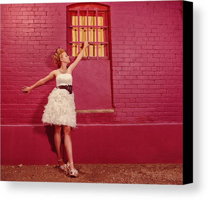 People Canvas Print featuring the photograph Classy Diva Standing In Front Of Pink Brick Wall by Kriss Russell