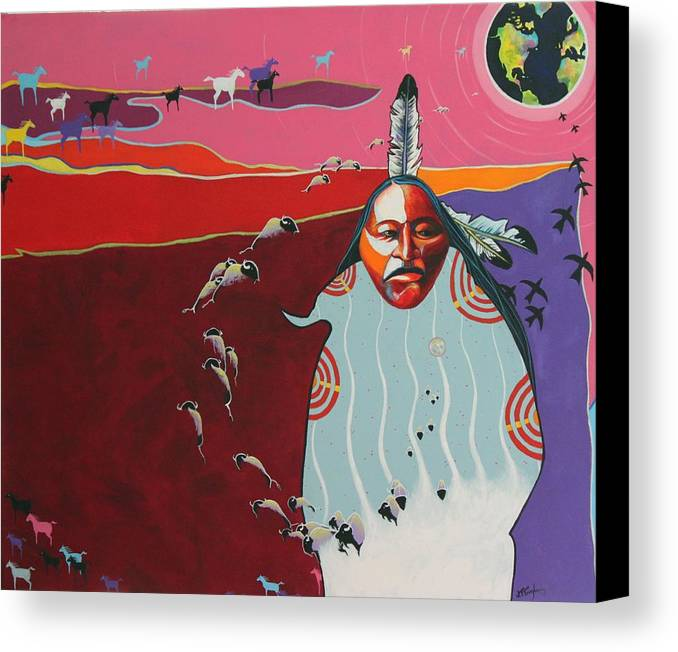Native American Canvas Print featuring the painting Creation by Joe Triano