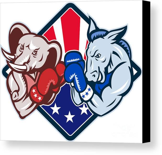 Donkey Canvas Print featuring the digital art Democrat Donkey Republican Elephant Mascot Boxing by Aloysius Patrimonio