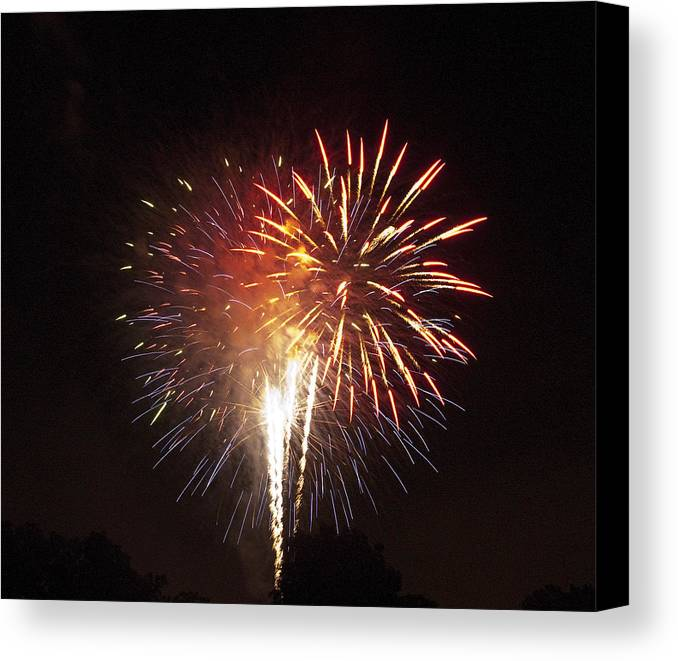 Cities Canvas Print featuring the photograph Detroit Area Fireworks -2 by Paul Cannon