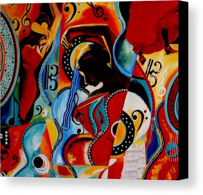 Bright Canvas Print featuring the painting Flamenco by Vel Verrept