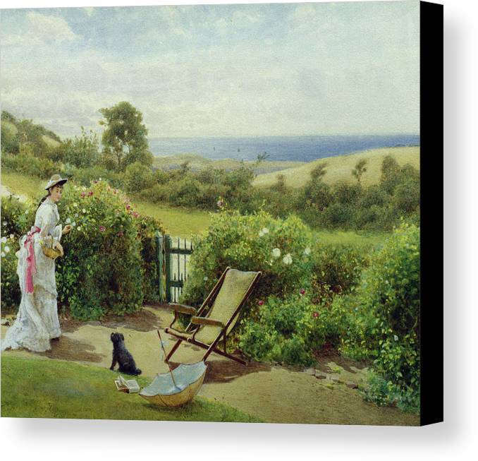 In The Garden Canvas Print featuring the painting In The Garden by Thomas James Lloyd