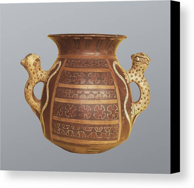Horizontal Canvas Print featuring the photograph Inca Vase With Geometric Decoration by Everett
