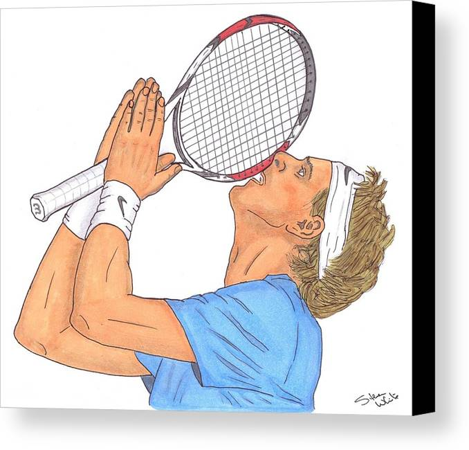 Juan Martin Del Potro Canvas Print featuring the drawing Juan Martin Del Potro by Steven White