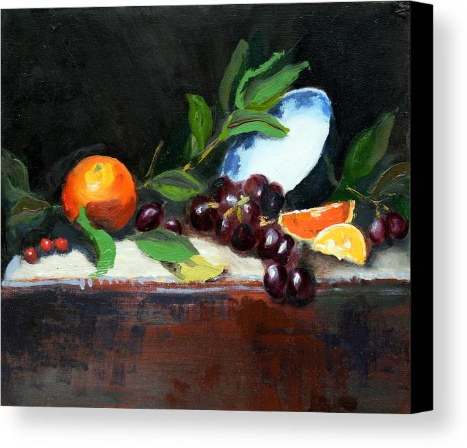 Orange Canvas Print featuring the painting Oranges And Grapes by Gaye White