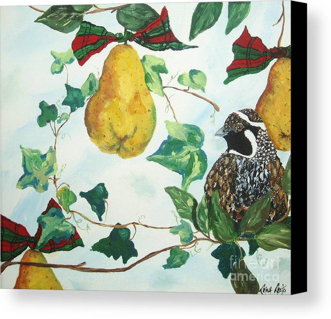 Tree Canvas Print featuring the painting Partridge And Pears by Reina Resto