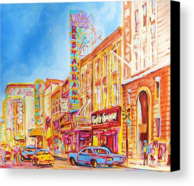 Paintings Of Montreal Canvas Print featuring the painting Saint Catherine Street Montreal by Carole Spandau